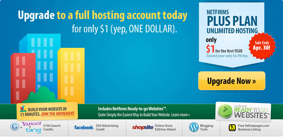 A great website in minutes? Now, that's a Plus. Free domain, unlimited hosting on sale now. Click here to sign up now!